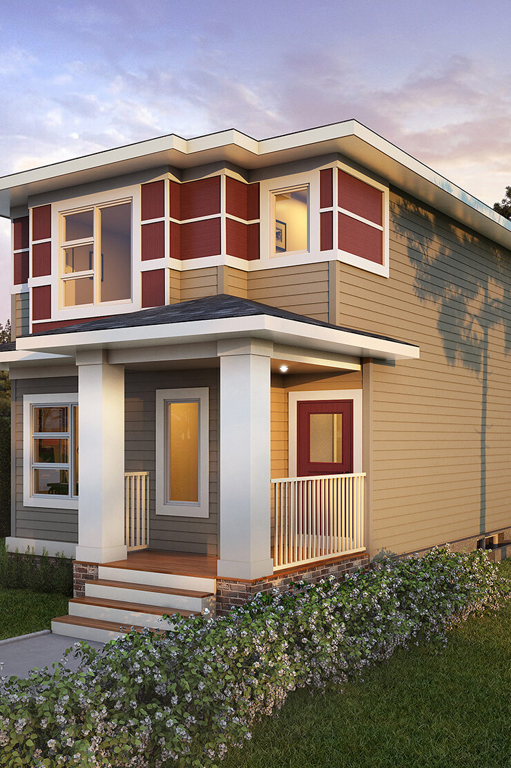 A modern prairie laned home with detached garage features white window trim, multicolored siding, including a wide front porch.