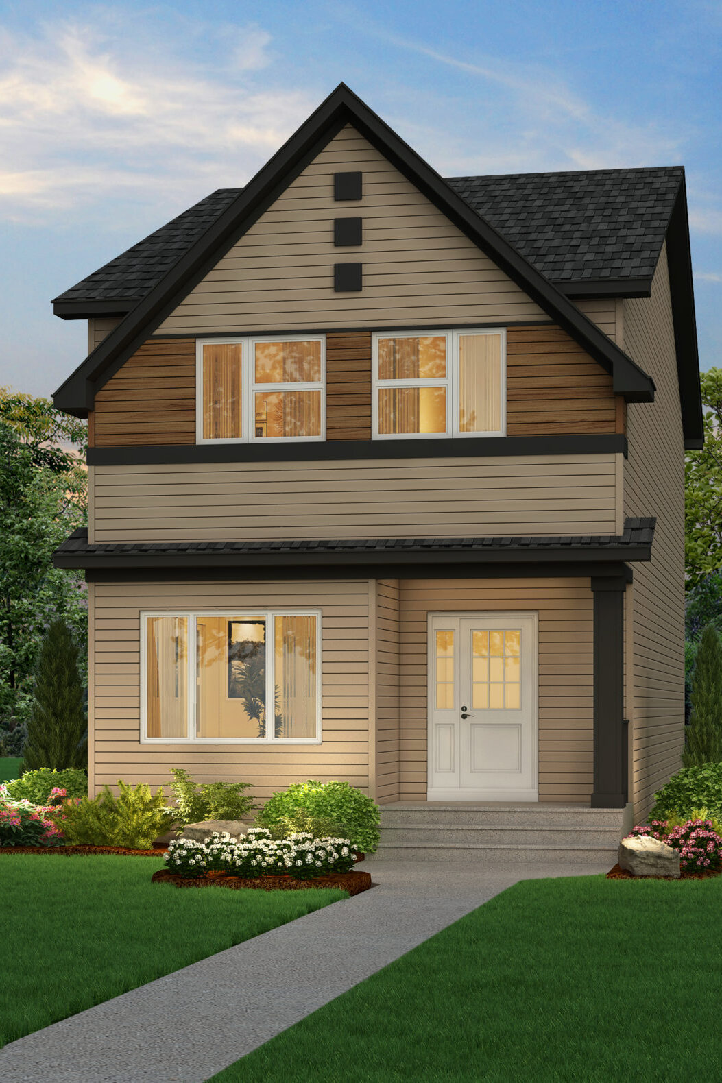 A modern prairie laned home with detached garage features white window trim and multicolored siding, including wood accents