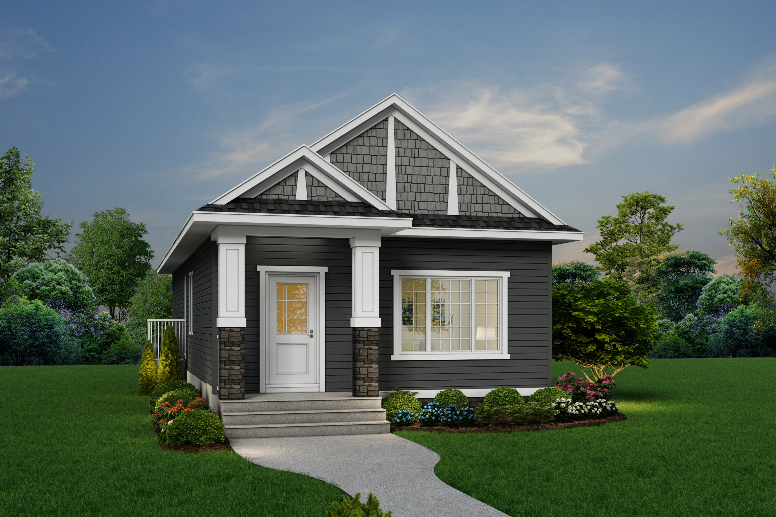A modern prairie bungalow home with detached garage features white window trim, dark grey siding, including rock accents