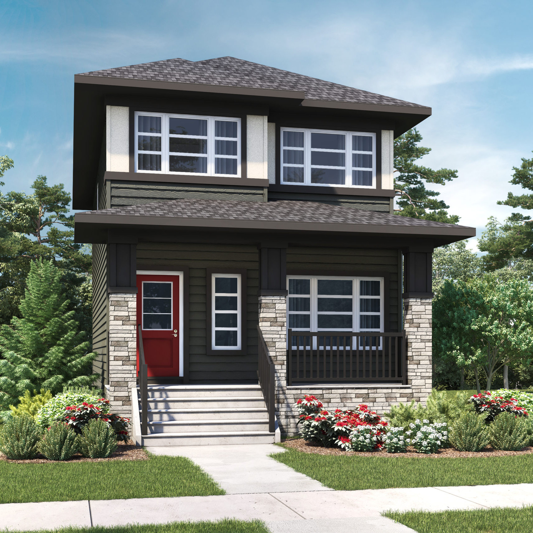 A modern prairie laned home with detached garage features white window trim and multicolored siding, including a wide front porch and rock accents
