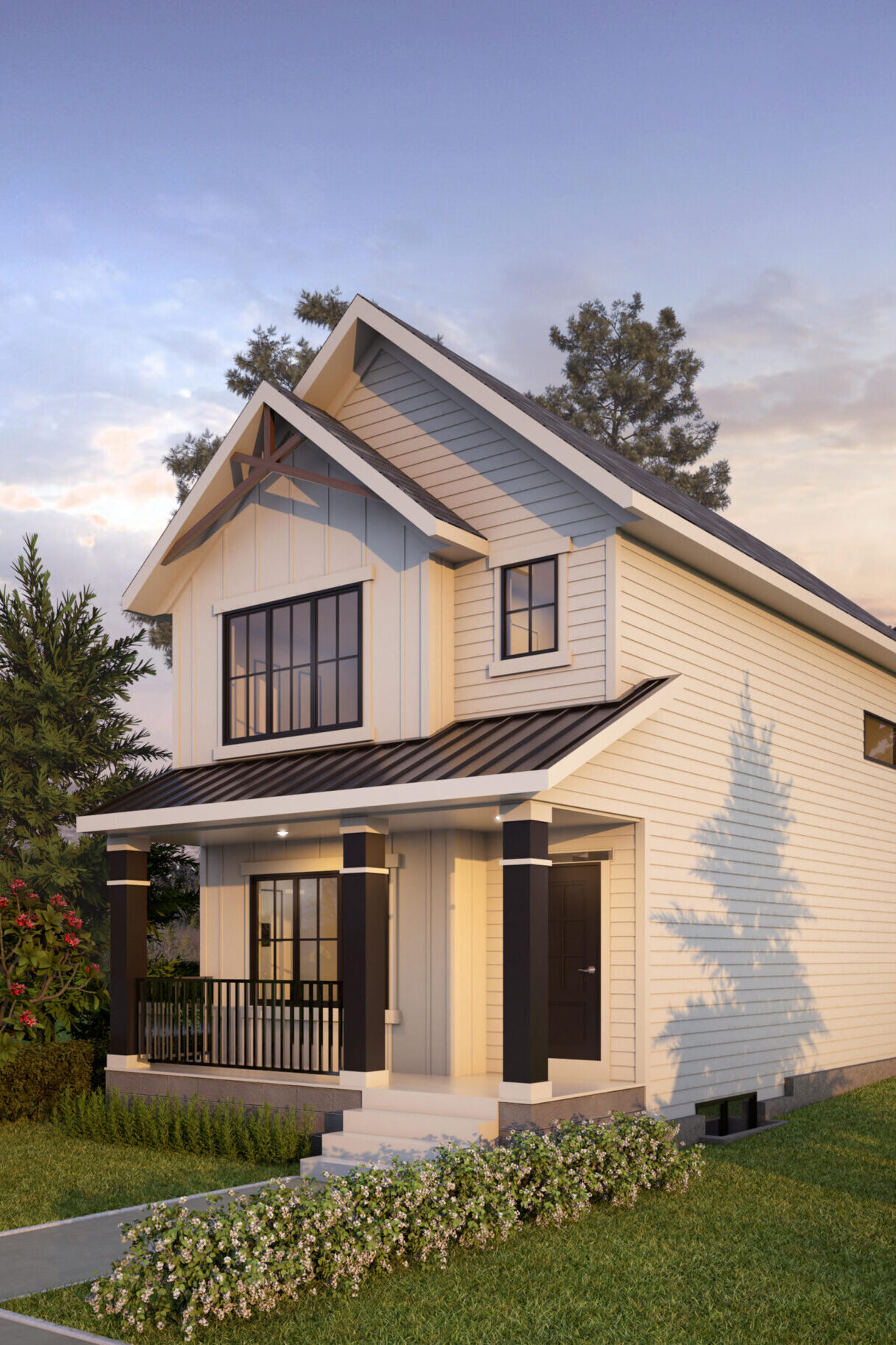 A modern prairie laned home with detached garage features black window trim and white siding, including a wide front porch.