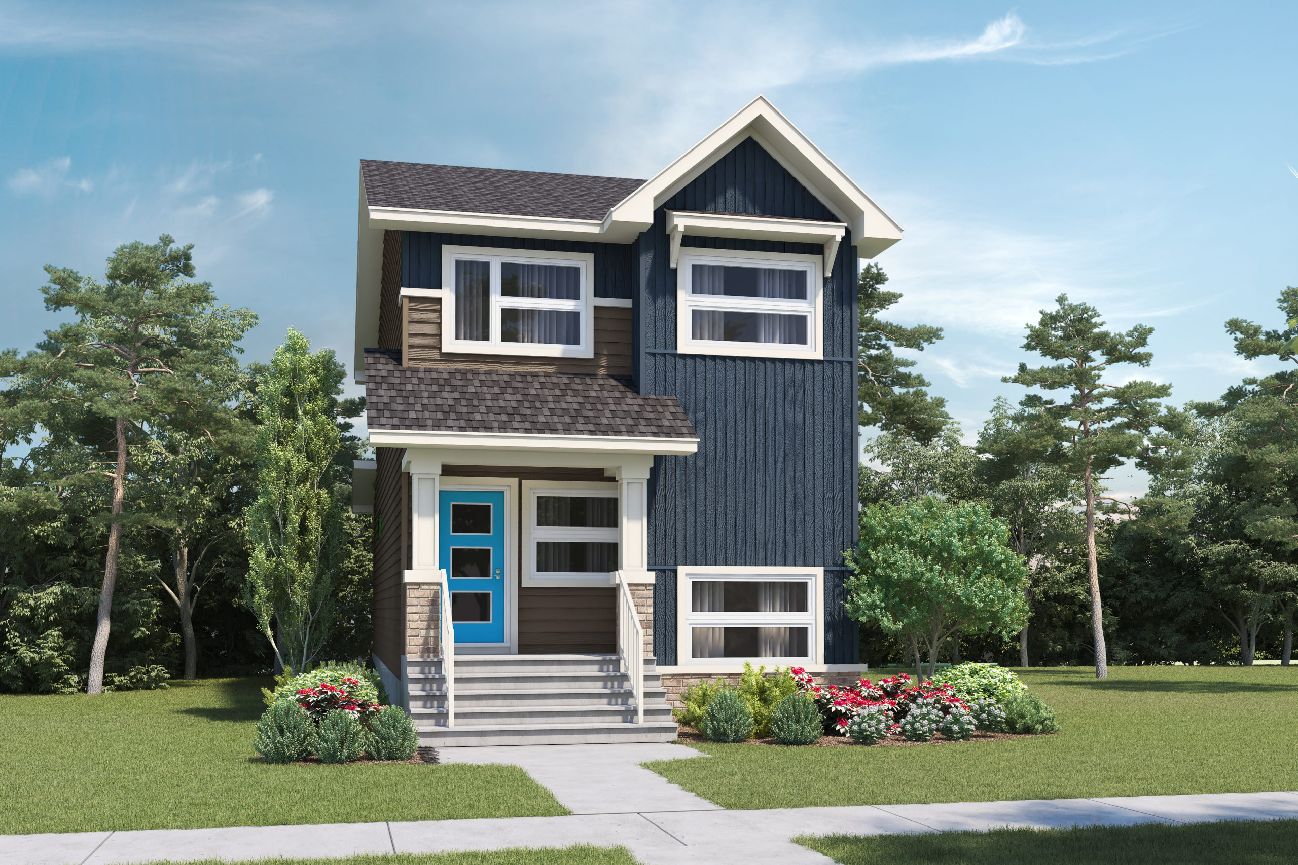 A modern prairie laned home with detached garage features white window trim and multicolored siding, including brick detail
