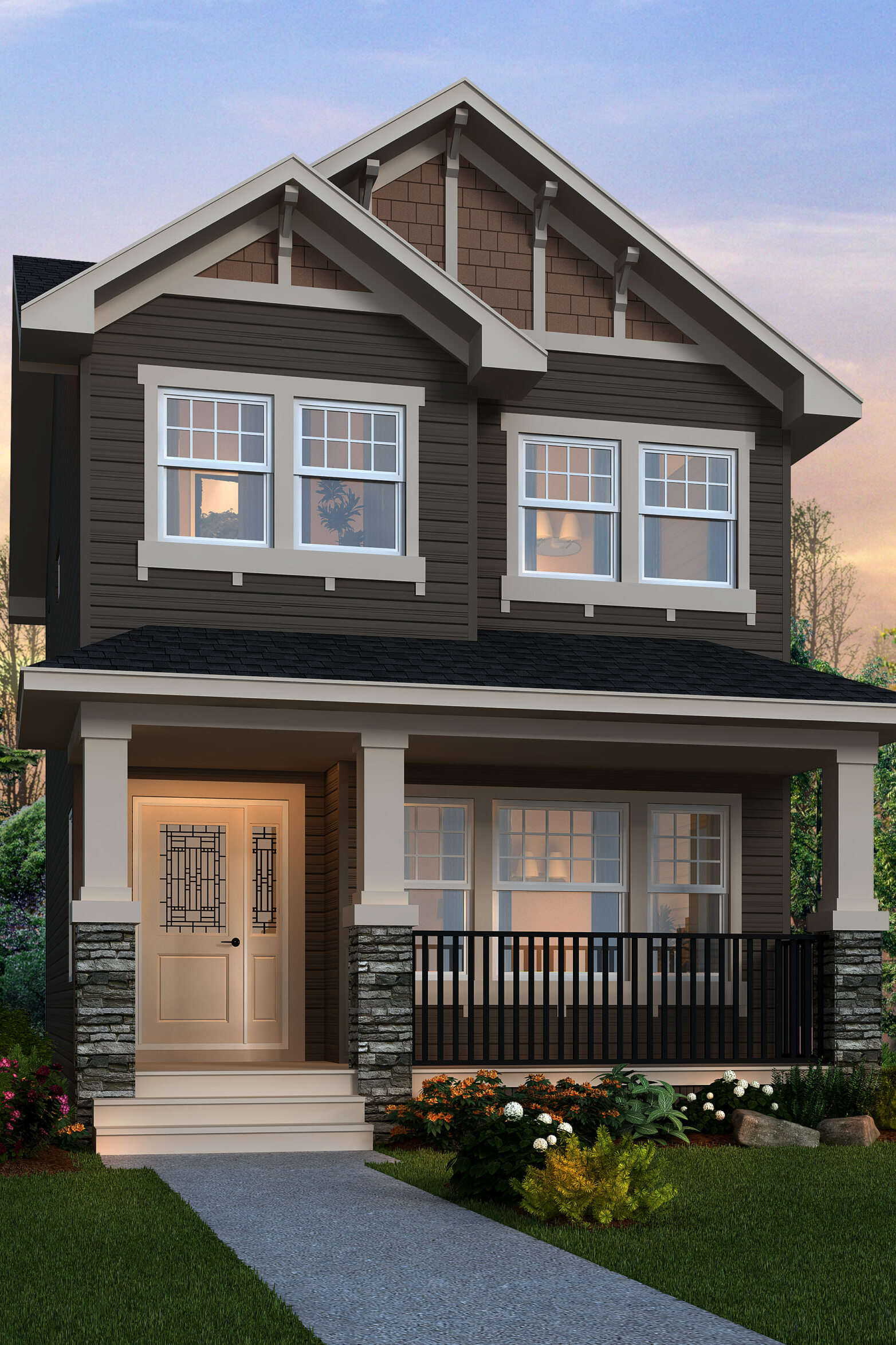 A modern prairie laned home with detached garage features white window trim, dark grey siding and rock detail, including a wide front porch.